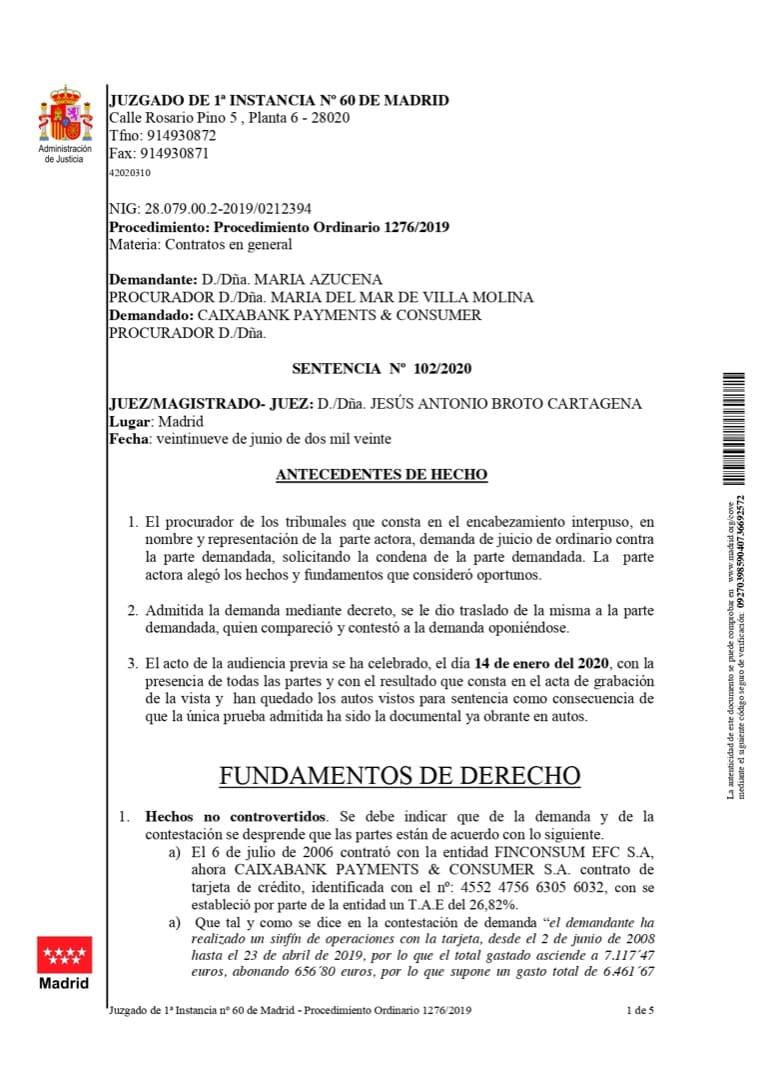 Sentencia Contra tarjeta de crédito revolving de Caixabank Consumer Finance