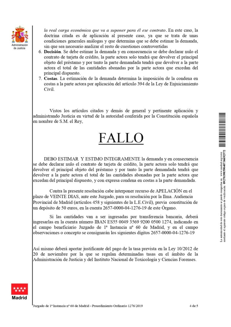 Fallo Sentencia Contra Caixabank por usura y falta de transparencia
