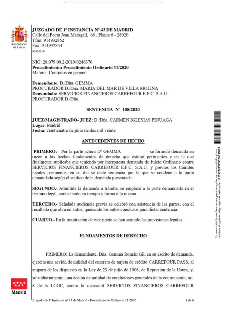 sentencia contra tarjeta de crédito Carrefour