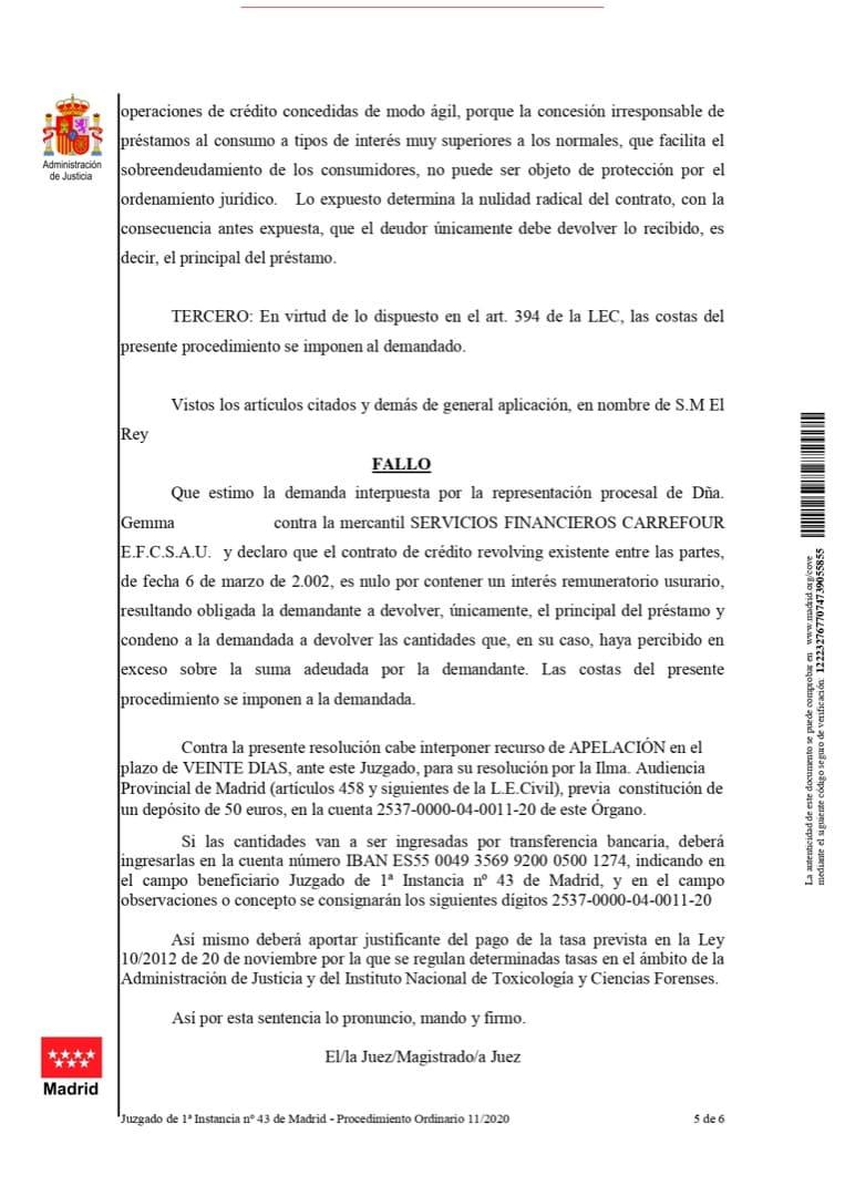 fallo contra tarjeta de crédito Carrefour Pass por intereses abusivos
