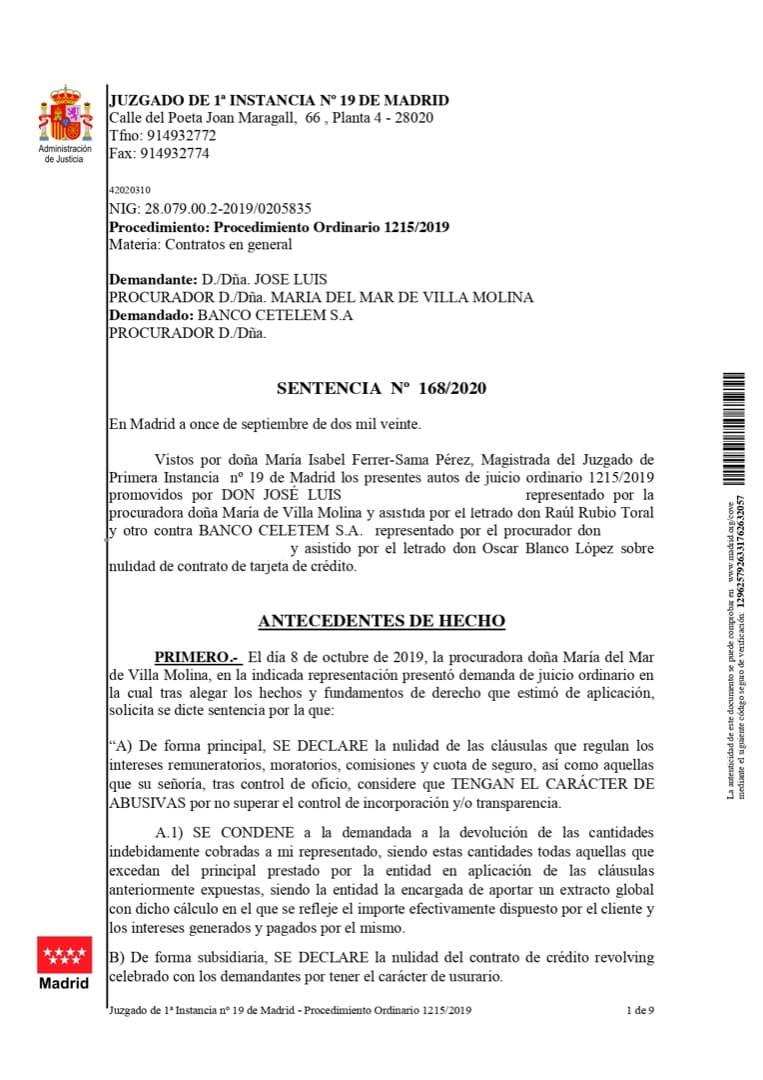 Sentencia ganada por Donrecuperador contra Cetelem