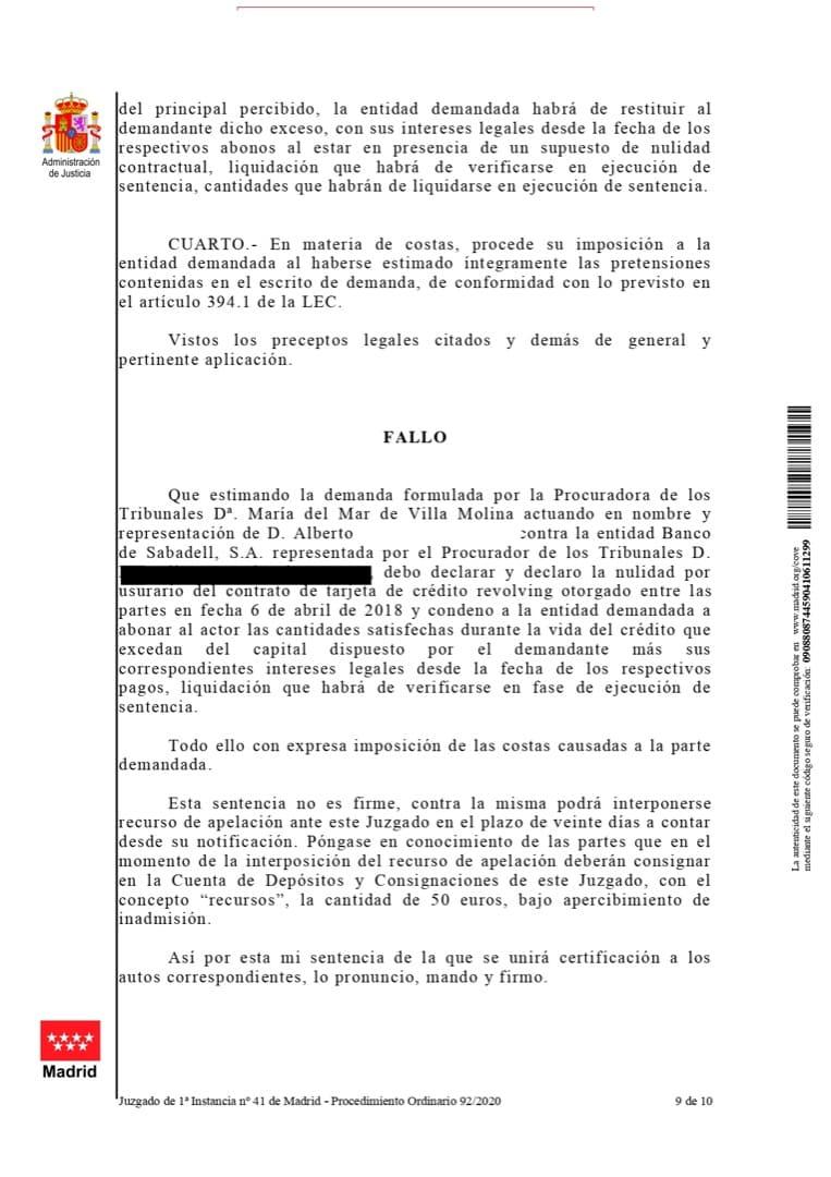 fallo Sentencia emitida contra Banco Sabadell por intereses usurarios