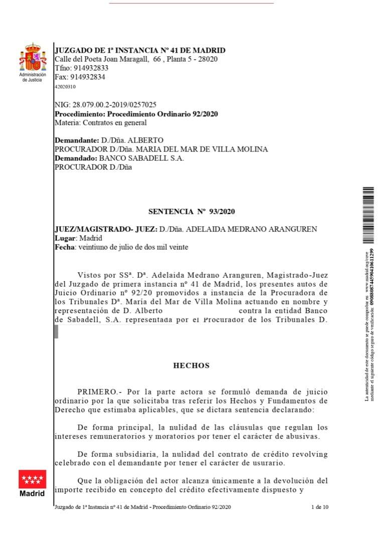 Sentencia emitida contra Banco Sabadell
