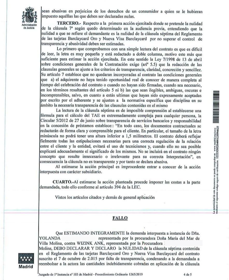 fallo sentencia contra Tarjeta Wizink contratada con Barclaycard